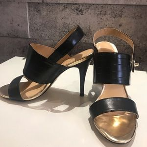 Expression black and gold sandals size 8
